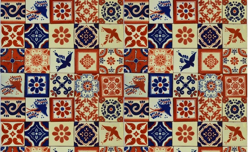 Pcs Mexican Talavera Tiles X Terracotta Blue Mix Folk Art EBay - 4x4 terracotta tile