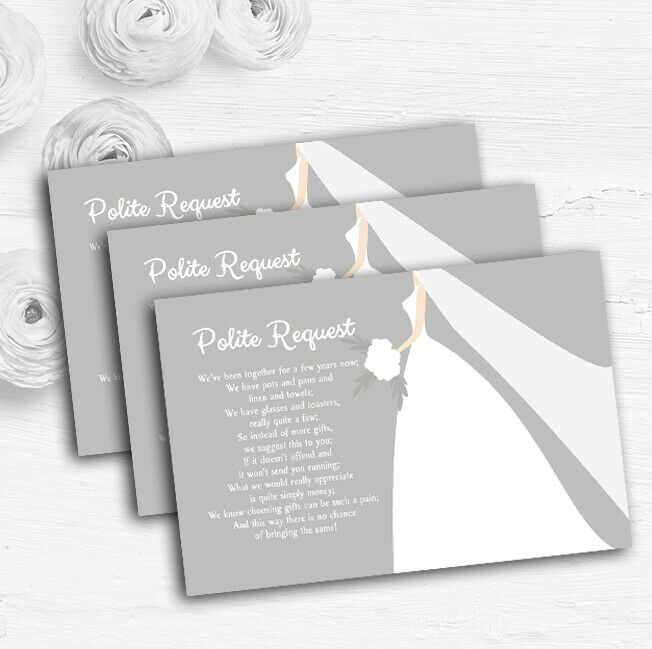 Great Weiß Bride Personalised Wedding Gift Cash Request Money Poem Cards