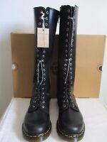 Dr. Martens Boots Knee High 20-eye Black Leather Side Zip Size Women Us 11