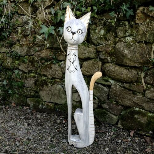 Cat Tall Wood Carving Fair Trade Handmade Painted Wooden Cats Made in Bali