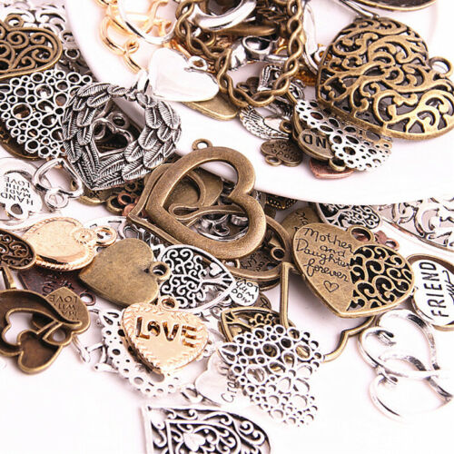 50X Vintage Metal Mixed Hearts Charms Retro Love Pendant For Jewelry Making