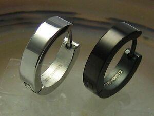 Edelstahl-Herren-Ohrringe-Piercing-Damen-Creolen-16mm-poliert-silber-schwarz