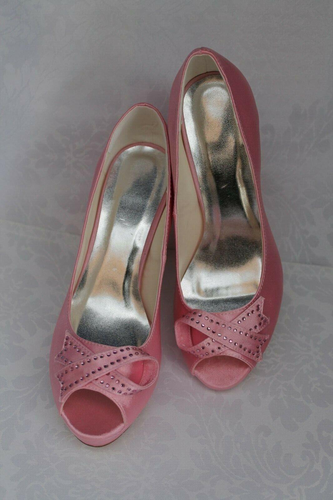 Womens Bridal Shoes Prom Shoes Party Pumps Pink 38 Peep Toe Bridesmaid B Ware
