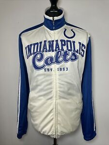 Official NFL Indianapolis Colts Blue Cream Tracksuit Trackie Jacket Zip Top M