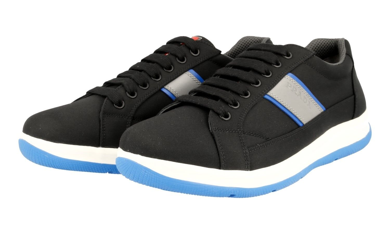 AUTH LUXURY PRADA SNEAKERS SHOES 4E2987 BLACK blueE NEW 9 43 43,5
