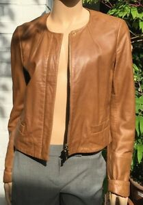 milestone damen biker lederjacke nappaleder farbe cognac gr e 38 ebay. Black Bedroom Furniture Sets. Home Design Ideas