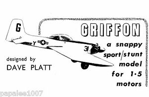 "Model Airplane Plans (UC): GRIFFON 32""ws Sport/Stunt for 1.5cc by Dave Platt"