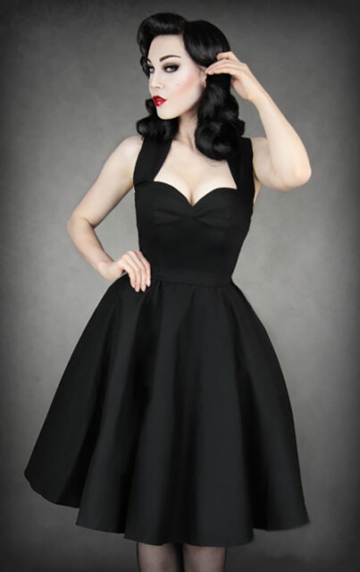 Restyle Rockabilly Petticoat Tanz Kleid Vintage Gothic 50s Dress Pin Up R36