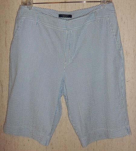 Bermuda maat broek Uitstekende 8 streep blauwe Seersucker en witte korte damesslippers xzwTzYqO