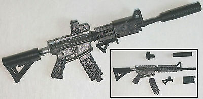 """M4 Assault Rifle Black & Gun-Metal DELUXE -1:18 Scale Weapon for 3-3/4"""" Figures"""