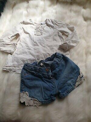 100% Vero Ragazza 3-4 Anni Vestito M&s Frilly Blusa Top Pantaloncini Di Jeans All'uncinetto Bundle Avanti Da-