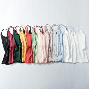 Women-039-s-Silk-Satin-Camisole-Plain-Strappy-Vest-Top-Sleeveless-Blouse-Tank-Top-UK