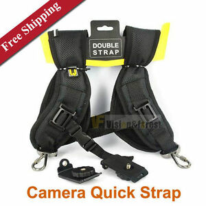 Universal-Double-Camera-Shoulder-Neck-Sling-Quick-Strap-Belt-UK-Seller