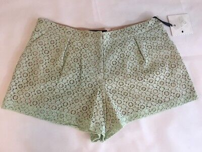 16W Plus Size Shorts Mint Green Lace Eyelet Pleated Victoria Beckham for Target