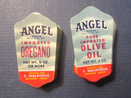Wholesale Lot of 200 Old 1950/'s ANGEL Brand Jar LABELS Olive Oil Oregano