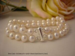 Armband-aus-Echten-Perlen-6-7mm-Weiss-20cm-Zweireihig-Super-Luester-925er-Silber