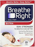 3 Pack - Breathe Right Nasal Strips Extra 26 Each on sale