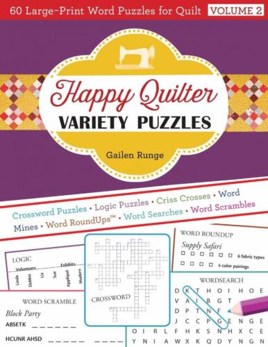 Happy Quilter Variety Puzzles  Volume 2 ~ 60 Large Print Word Puzzles