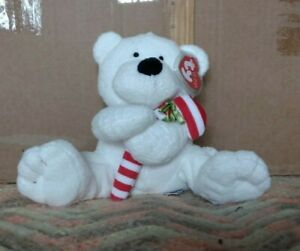 2005 Ty Pluffies Plush CANDY CANE BEAR Teddy White Beanie Baby Christmas Holiday