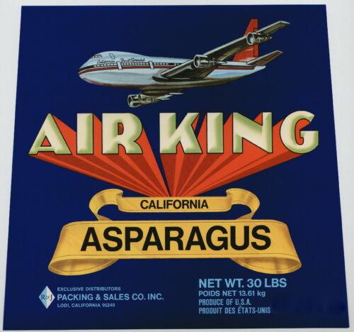 AIR KING~AIRPLANE~ORIGINAL 1960s LODI CALIFORNIA ASPARAGUS VEGETABLE CRATE LABEL