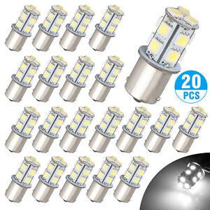 20x Super White 1156 1141 13-SMD RV Camper Trailer LED Interior Light Bulbs 12V