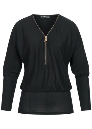 33/% OFF B16129016 Damen Violet Shirt Longform Fledermaus Shirt Zipper schwarz