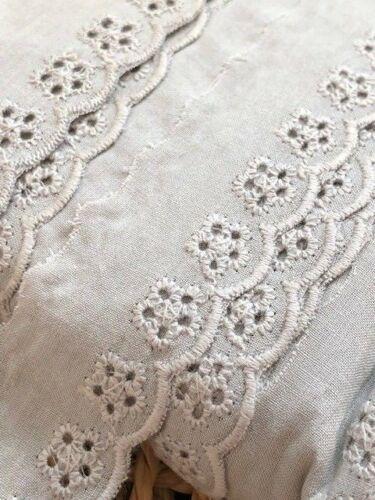 """Laverslace-Magnifique Vison Gris Coton Broderie Anglaise Dentelle 1/""""//2.5cm"""