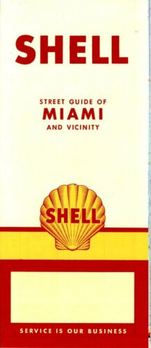 1957 Shell Road Map Miami NOS