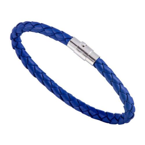 Mens Boys Braided Leather Bracelet Wristband Bangle Stainless Steel Wrap Gift UK