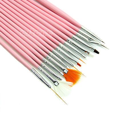 Nail Art Acrylic UV Gel Diy Design Brush Set Painting Pen Tips Tools kit 15 Pcs