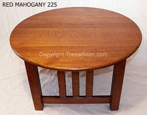 Mission Oak Round Coffee Table Quarter Sawn 26 Colors Craftsman Hand Made in USA