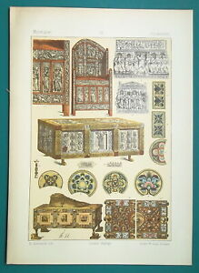 BYZANTINE-Ornaments-Throne-Chair-Coffin-Relic-Boxes-1883-Color-Litho-Print