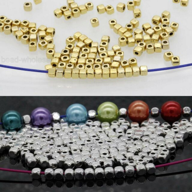 100/500 Pcs Wholesale Cube Tibetan Silver Beads For Jewelry Findings 3.5*3mm
