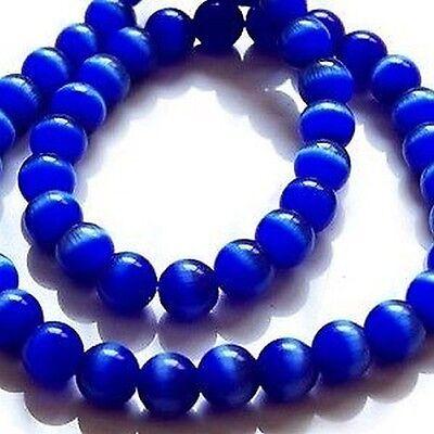 50 pcs 6mm Cat's Eye Beads - Cobelt Blue - A3811