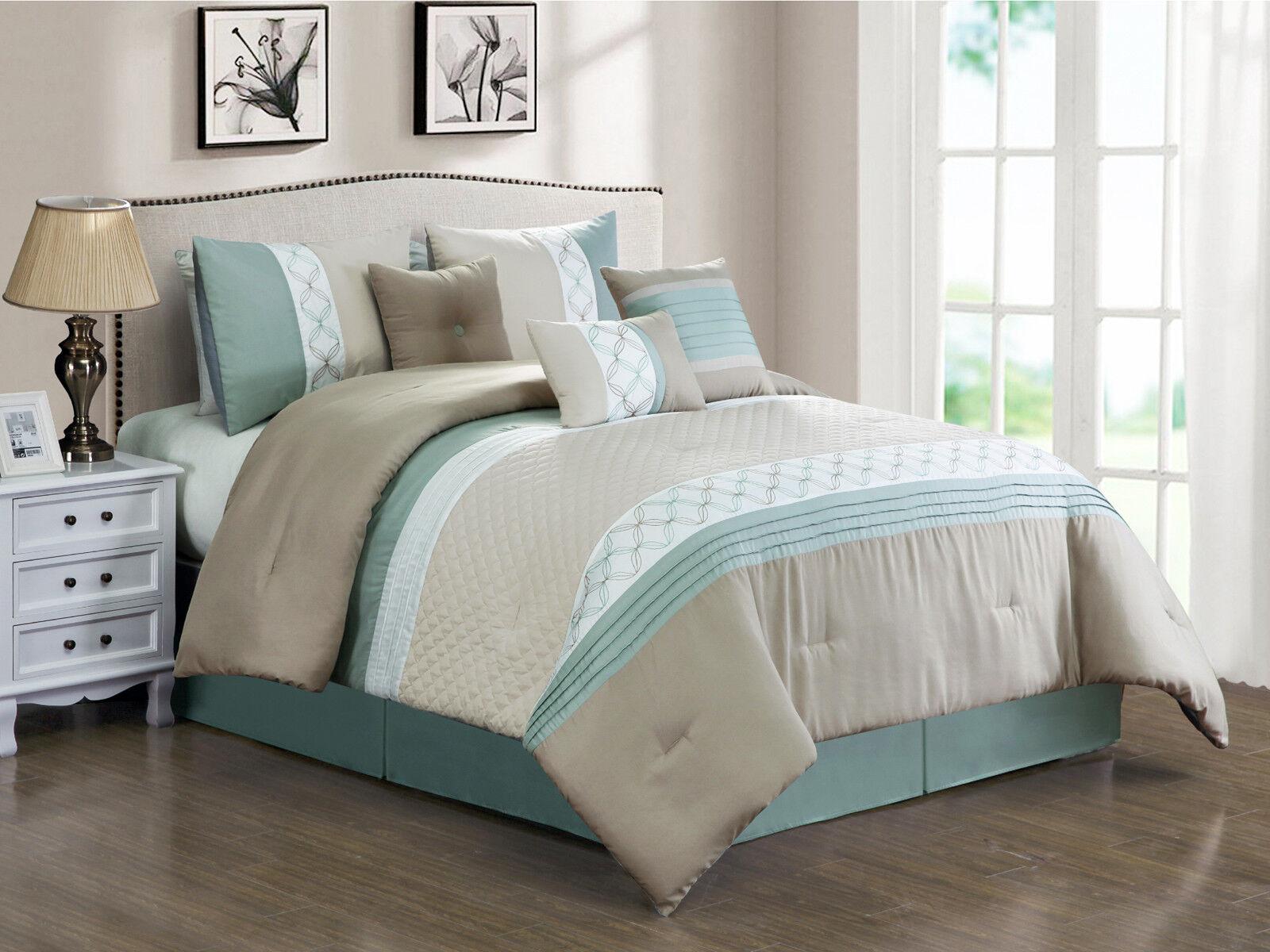 11P Llyr Clamshell Circle Star Comforter Curtain Set Taupe Beige Mint Weiß King
