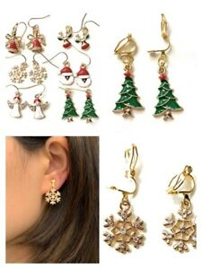 Girls-Gold-Christmas-Drop-Dangle-Earrings-Red-Green-White-Pierced-or-Clip-On