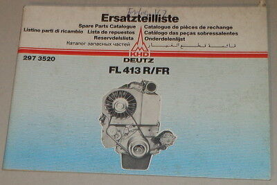 Special Section Parts Catalog/spare Parts List Deutz Motor Fl 413 R/fr Stand 05/1981 Terrific Value Industrial Motors