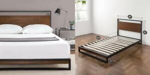 Wood Slat Support Zinus Suzanne Metal and Wood Platform Bed with Headboard Twin Box Spring Optional