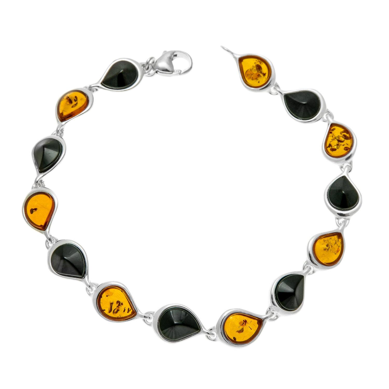 Whitby Jet argentoo argentoo argentoo Sterling Baltic Amber bracelet c3ba69