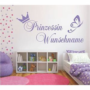 y50 kinderzimmer wandtattoo wunschname name prinz prinzessin kind kinder deko ebay. Black Bedroom Furniture Sets. Home Design Ideas