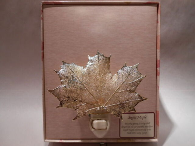 Real Sugar Maple Leaf Night Light 24K Gold Precious Metals Filigree w/ Gift Box