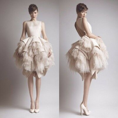 Ostritch Feather Wedding Dresses Bridal Gowns Knee Length Backless Plus  Size | eBay