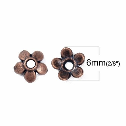 100 Or 200PCs Antiqued Copper 6mm Bead Caps For 6-8mm Beads B2978-50