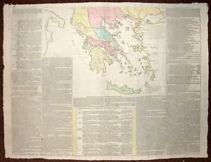 Carte De La Grece Gravure Originale Ancienne De 1813 En Coloris D'époques AgréAble Au Palais
