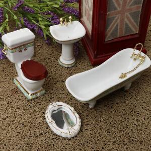 1//24 Dollhouse Miniature Bathroom Ceramic Bathtub Toilet Toy Decor White