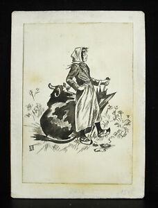 Auguste-Besnou-c1900-Drawing-Original-Scene-of-Farm-Clearance-Peasant-Woman-Cow