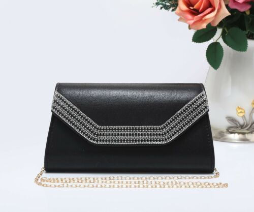 Women/'s New Evening Diamante Edge Party Clutch Bag Prom Wedding Day Club Purse