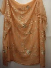 Vintage Peach & Silver Dupatta Indian Scarf Embroidered Sarong Veil Stole Hijab
