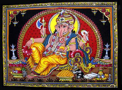 Shiva Family Ganesha /& Parvati Sequin Wall Hanging Tapestry Hindu Home Decor Art