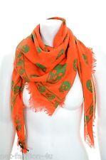 Alexander MCQUEEN CLASSIC Arancione & Verde Teschio Sciarpa Di Pashmina Colori Vivaci Nuovo con Etichetta